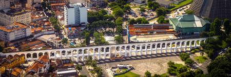 rio de janeiro: Aerial view of an aqueduct, Carioca Aqueduct, Santa Teresa, Rio de Janeiro, Brazil