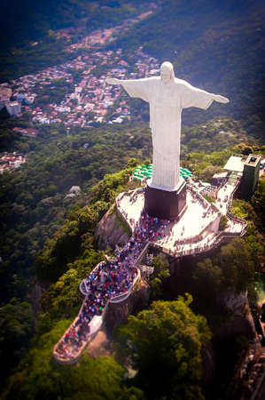 Aerial view of Christ the Redeemer statue on top of Corcovado, Rio de Janeiro, Brazil