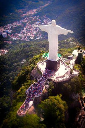 Aerial view of Christ the Redeemer statue on top of Corcovado, Rio de Janeiro, Brazil