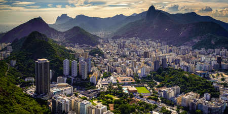 Aerial view of a city on a hill, Rio De Janeiro, Brazil Standard-Bild