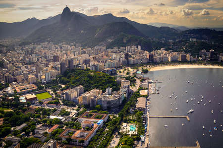 Buildings at the waterfront, Guanabara Bay, Rio De Janeiro, Brazil Stock Photo