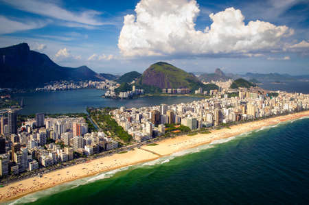 Aerial view of buildings on the beach front, Ipanema Beach, Rio De Janeiro, Brazil photo