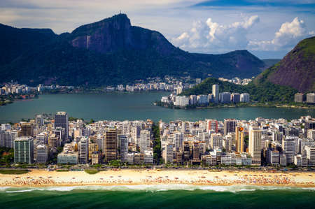 Aerial view of buildings on the beach front with a mountain range in the background, Ipanema Beach, Rio De Janeiro, Brazil