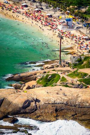 beach front: Aerial view of Ipanema Beach, Rio De Janeiro, Brazil Stock Photo
