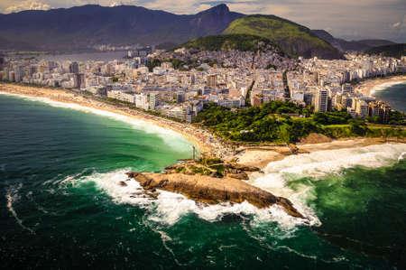 beach front: Aerial view of buildings on the beach front, Ipanema Beach, Rio De Janeiro, Brazil