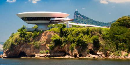 Art museum on a cliff, Niemeyer Museum of Contemporary Arts, Niteroi, Rio De Janeiro, Brazil