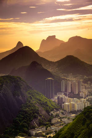 Cityscape with mountain range in the background, Rio De Janeiro, Brazil Stock Photo