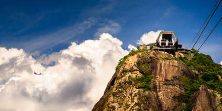 Overhead cable car station on the top of Sugarloaf Mountain, Guanabara Bay, Rio De Janeiro, Brazil photo