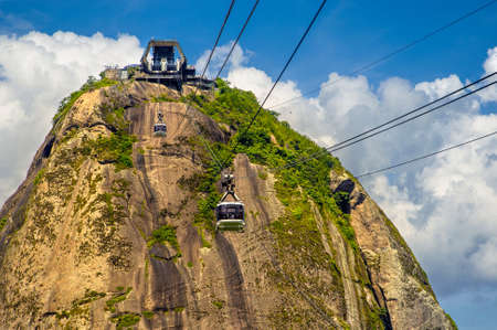 Overhead cable car station on the top of a mountain, Sugarloaf Mountain, Guanabara Bay, Rio De Janeiro, Brazil Stock Photo - 21578450