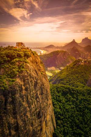 Mountain range at dusk, Sugarloaf Mountain, Guanabara Bay, Rio De Janeiro, Brazil