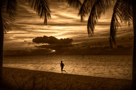 Silhouette of a person running on the beach at sunset, Key West, Monroe County, Florida, USA