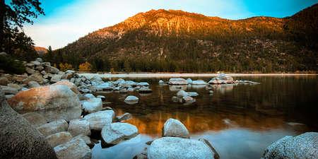 Rocks in a lake, Lake Tahoe, Sierra Nevada, California, USA Stock Photo - 22229021