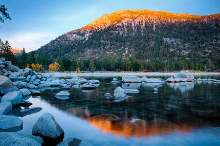 Rocks in a lake, Lake Tahoe, Sierra Nevada, California, USA Stock Photo - 22229023