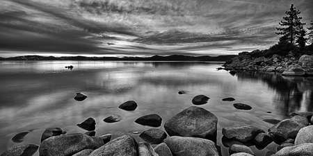 black and white photography: Rocks in a lake, Lake Tahoe, Sierra Nevada, California, USA