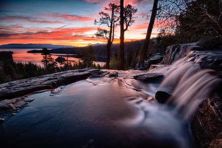 Water falling into a lake, Lake Tahoe, Sierra Nevada, California, USA Stock Photo - 22229026