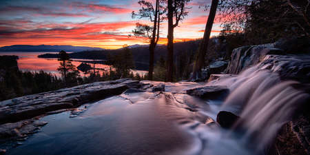 cascade: Water falling into a lake, Lake Tahoe, Sierra Nevada, California, USA Stock Photo