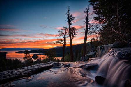 Water falling into a lake, Lake Tahoe, Sierra Nevada, California, USA Standard-Bild