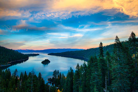 trees photography: High angle view of a lake, Lake Tahoe, Sierra Nevada, California, USA