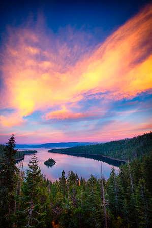 High angle view of a lake, Lake Tahoe, Sierra Nevada, California, USA photo