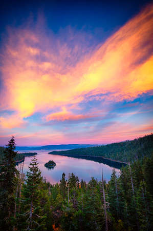 High angle view of a lake, Lake Tahoe, Sierra Nevada, California, USA Stock Photo - 22229064
