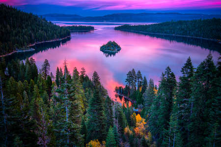 high sierra: High angle view of a lake, Lake Tahoe, Sierra Nevada, California, USA