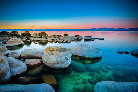 Rocks in a lake, Lake Tahoe, Sierra Nevada, California, USA Stock Photo - 22229068
