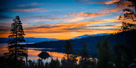 Reflection of clouds in a lake, Lake Tahoe, Sierra Nevada, California, USA Stock Photo - 22229070