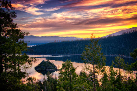 Island in a lake at dusk, Lake Tahoe, Sierra Nevada, California, USA Stock Photo - 22229071