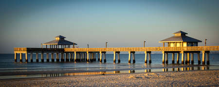 Pier in the Atlantic ocean at dusk, Fort Myers, Lee County, Florida, USA