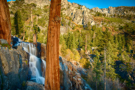Water falling from rocks, Lake Tahoe, Sierra Nevada, California, USA