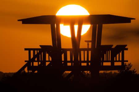 watchtower: Silhouette of a watchtower, Merritt Island, Titusville, Brevard County, Florida, USA
