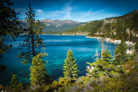 Lake surrounded by mountains, Lake Tahoe, California, USA