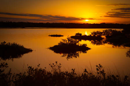 Lake at sunset, Black Point Wildlife Drive, Merritt Island National Wildlife Refuge, Titusville, Florida, USA photo