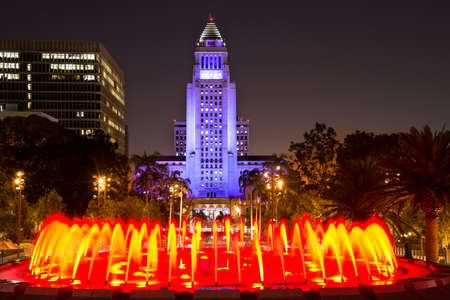 Los Angeles City Hall as seen from the Grand Park at night, Los Angeles, California, USA