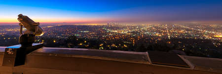 City of Los Angeles as seen from the Griffith Observatory at dusk, Los Angeles County, California, USA Stock Photo