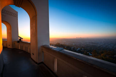 los angeles county: City of Los Angeles as seen from the Griffith Observatory at dusk, Los Angeles County, California, USA Stock Photo