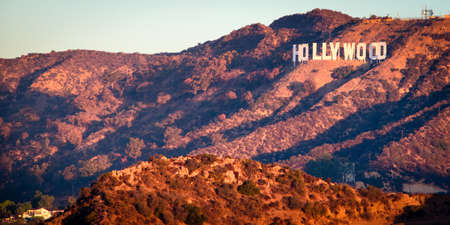 Hollywood Sign from Griffith Observatory at sunrise, Hollywood, Los Angeles, California, USA