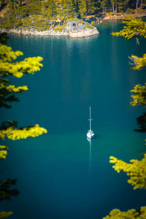 south lake tahoe: High angle view of a boat in a lake, Emerald Bay, Lake Tahoe, California, USA Stock Photo