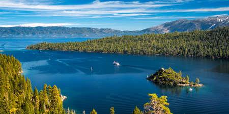 south lake tahoe: High angle view of an island in a lake, Emerald Bay, Lake Tahoe, California, USA