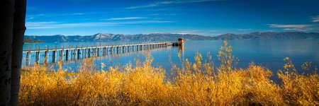 trees photography: Pier in a lake, Tahoe City, Lake Tahoe, California, USA