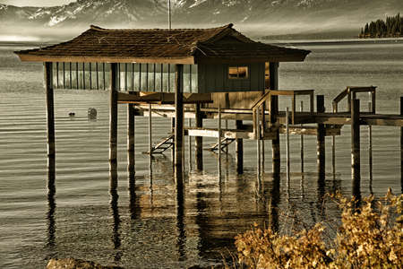 carnelian: Stilt hut in a lake, Carnelian Bay, Lake Tahoe, California, USA