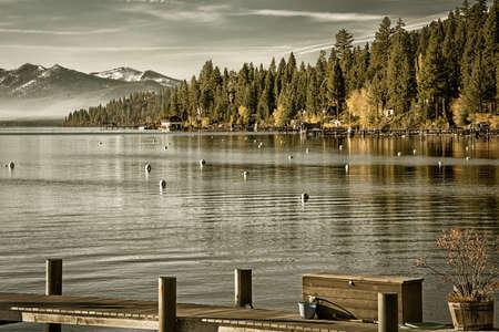 湖畔、カーネリアン ベイ、タホ湖、カリフォルニア、米国で森林の木 写真素材