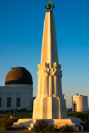 griffith: Astronomers Monument in front of Griffith Observatory in Griffith Park, Los Angeles, California, USA Stock Photo