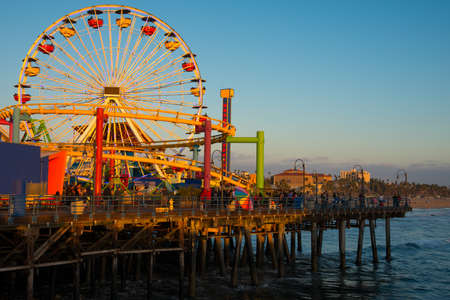 Ferris wheel on a pier, Santa Monica Pier, Santa Monica, Los Angeles County, California, USA Editorial