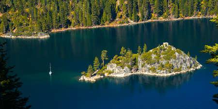 south lake tahoe: Trees on an island in a lake, Emerald Bay, Lake Tahoe, California, USA Stock Photo