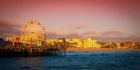 santa monica: Ferris wheel on a pier, Santa Monica Pier, Santa Monica, Los Angeles County, California, USA Stock Photo