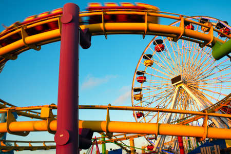 Amusement park rides on a pier, Santa Monica Pier, Santa Monica, Los Angeles County, California, USA Stock Photo
