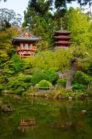 Pagodas in Japanese Tea Garden, San Francisco, California, USA Stock Photo