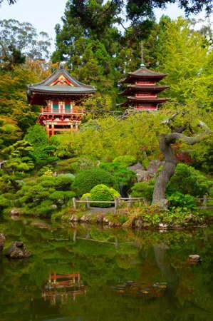 Pagodas in Japanese Tea Garden, San Francisco, California, USA Stock Photo