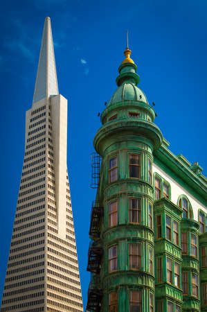 Low angle view of buildings, Columbus Tower, Transamerica Pyramid, San Francisco, California, USA